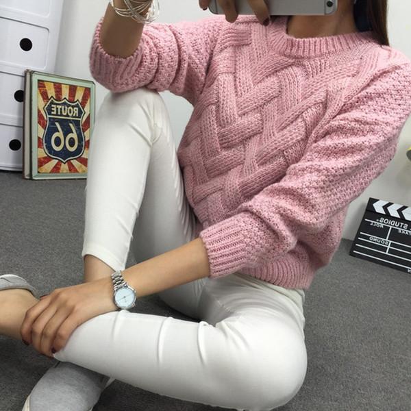 Inverno O Pescoço Camisola das Mulheres Jersey Mulher Mohair De Malha Trançado Grosso Quente Da Senhora Pullover 2018 Colégio Jumper Mulheres Rosa Cinza C18110801