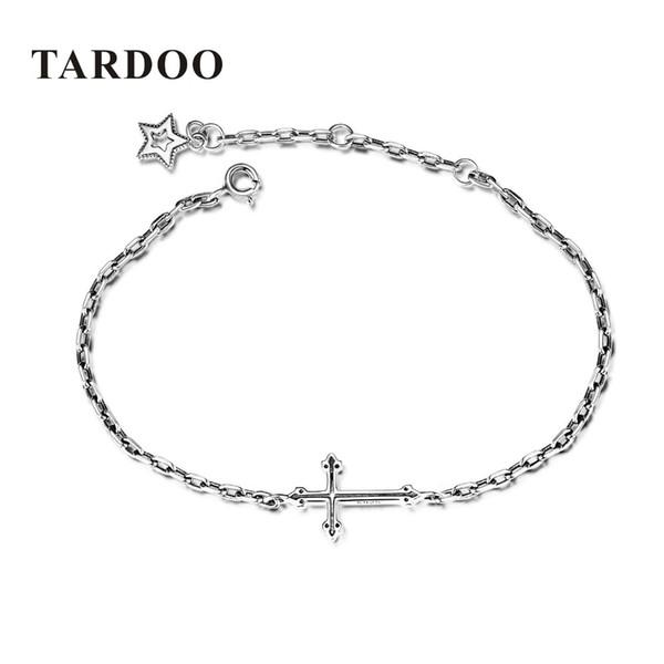 TARDOO Charms Pulseras Real 925 Plata Esterlina Cruz Estrella Pulsera Pulsera de moda para las mujeres pulseras brazaletes joyería de regalo S18101308