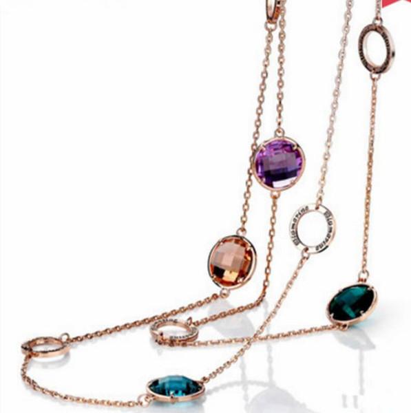 bijoux de créateur chandail long collier en cristal pour les femmes en hiver autom simple classique chaud mode