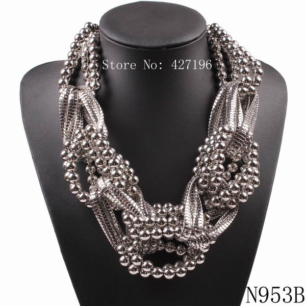 2018 Fashionable New Design Brand Statement Necklace Alloy Chain Bead Chunky Big Pendant Necklace For Women Jewelry Wholesale