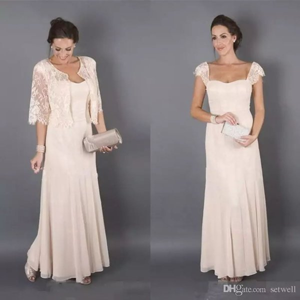 2018 New Chiffon Mermaid Mother of the Bride Dresses With Lace Jackets Custom Made Cheap Mother's Dress Evening Gowns