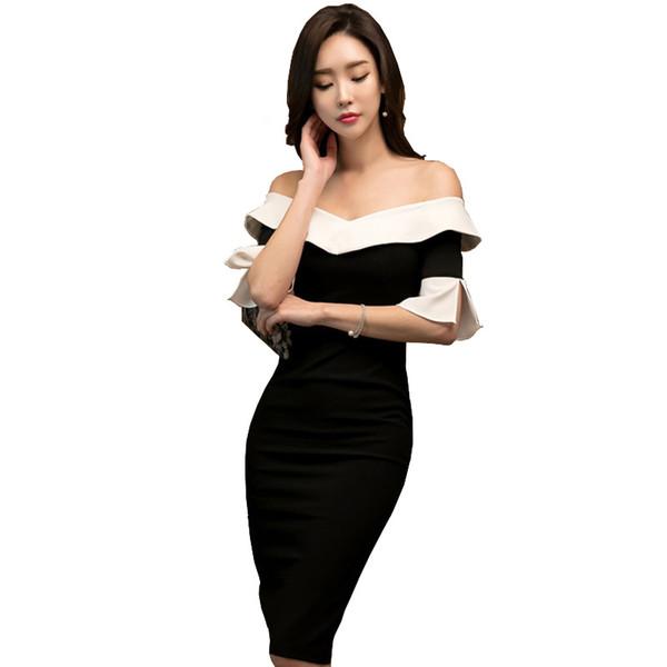 d03e1f532c5 Printemps Summe Femmes Robe Noire Avec Col Blanc Robe Top Qualité De  L épaule V