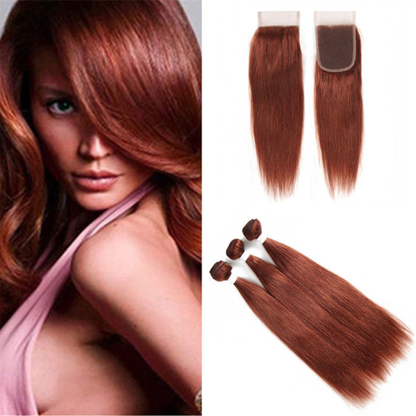 Virgin Malaysian Dark Auburn Straight Hair Bundles with Lace Closure Color 33 Copper Red Virgin Hair Weave wtih Closure 4Pcs Lot