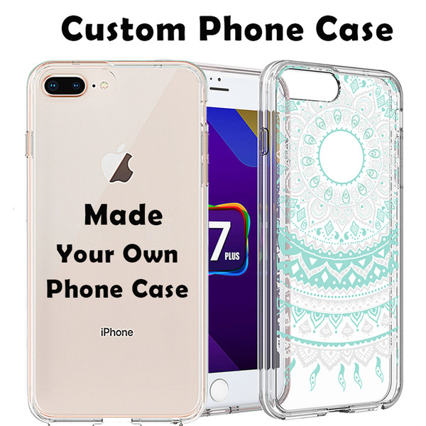 Custom Own Phone Case DIY Print Personalised Design Create Acrylic Hard Cover Soft Bumper Transparent Customize for iPhone X 8 7 Plus