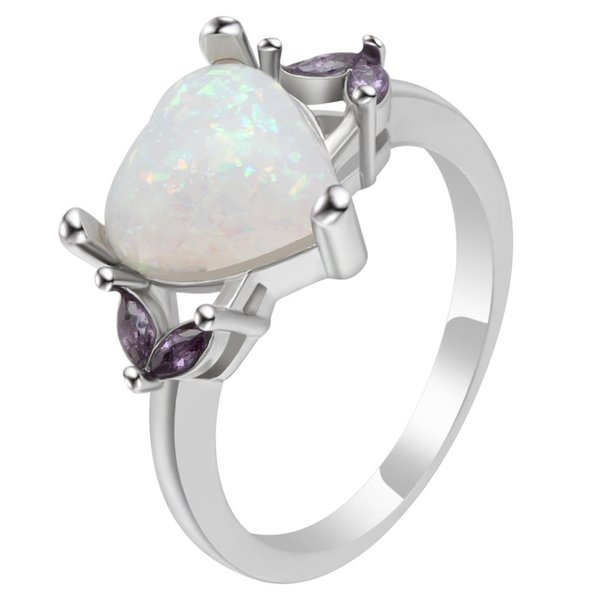 UFOORO Promise Ring Love Heart Opal Ring For Couple Unique Wedding And Engagement Princess For Women Bridal Dropshipping