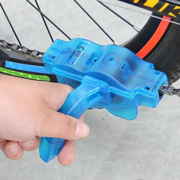 Bike Cleaning Tools Blue Portable Bicycle Chain Cleaner,Bike Clean Machine Brushes Scrubber Wash Tool, Mountain Cycling Cleaning Kit Outdoor
