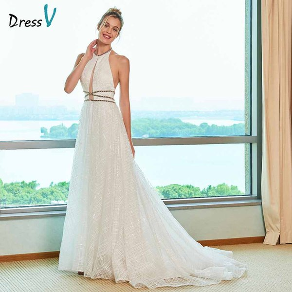 wholesale elegant a line wedding dress halter neck court train beaidng lace floor length bridal outdoor&church wedding dresses
