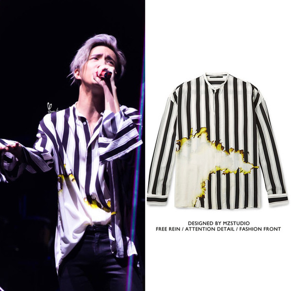 Stars with black white flame striped shirts DJ men&women singer costumes hairdressers fashion personality trend couple shirts