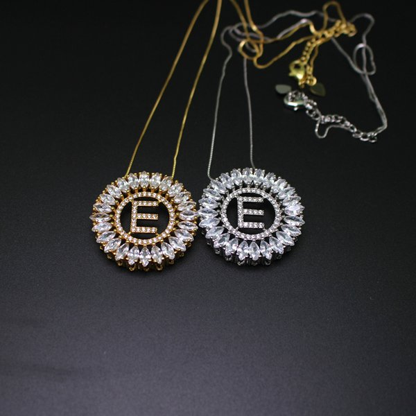 Valentine's Day gift Initials Letter E pendant necklace with shiny cubic zirconia hight quality jewelry For women gift