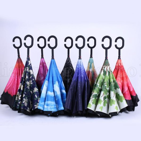 Creative Inverted Shade Umbrellas Double Layer With C Handle Inside Out Reverse Windproof Rainy Sunny Beach Reverse Umbrella KKA5223