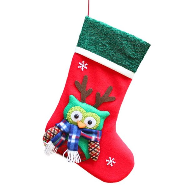 1PC Christmas Cute Sock Shape Tree Ornaments Hanging Gift Present Storage Covers Bag Drop shipping #XG15