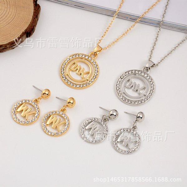 Europe and the United States fashion necklace pendant earrings full drill M letter octagonal round two-piece diamond jewelry lx