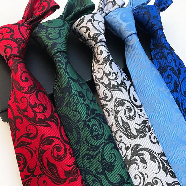 Fashion Silk Männer Krawatten Paisley Floral 8cm Formal New Design Krawatte für Männer Jacquard Woven tragen Business-Hochzeitsfeier