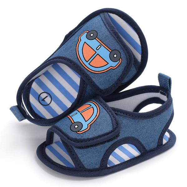 Neugeborenes Baby Jungen Schuhe Säugling Kleinkind Auto Print Krippe Schuhe blaue weiche Sohle Schuhe Kind Prewalke