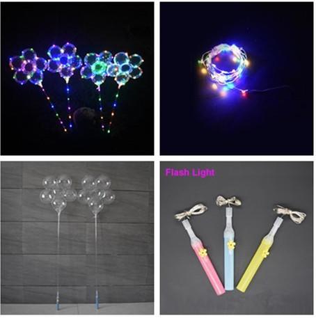 "LED Flash Light Plum Blossom Balloon Luminous 18"" BoBo Balloons with Handle Stick 3M String Ball Flashing Toys Wedding Party Decoration Hot"
