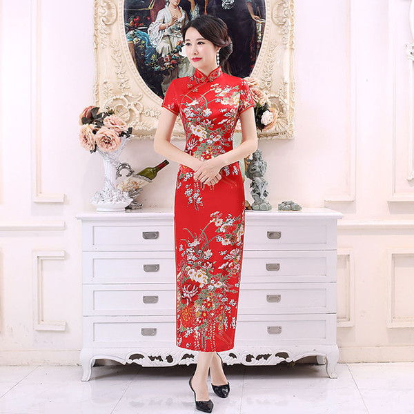 Chinese Traditional Costumes Wedding Party Wear Silk Satin Cheongsams Dress for Female Women Tight Bodycon Tang Suit Dress