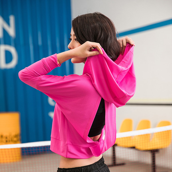 Gym Mesh Long Sleeve Hooded T Shirt Fitness Yoga Crop Top Women Sportswear Sport Jerseys Hoodie Running Jacket Sports Clothing