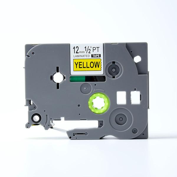 PUTY 5PCS Nero su giallo 12mm Compatibile Brother TZ-631 TZe 631 Cassetto a nastro d'inchiostro per stampanti di etichette