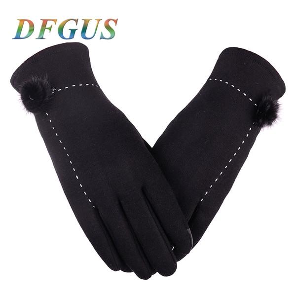 Women's Pompon Winter Gloves Brand Touch Screen women fashion Gloves Thick Cotton Warm Mittens Female Winter Mittens
