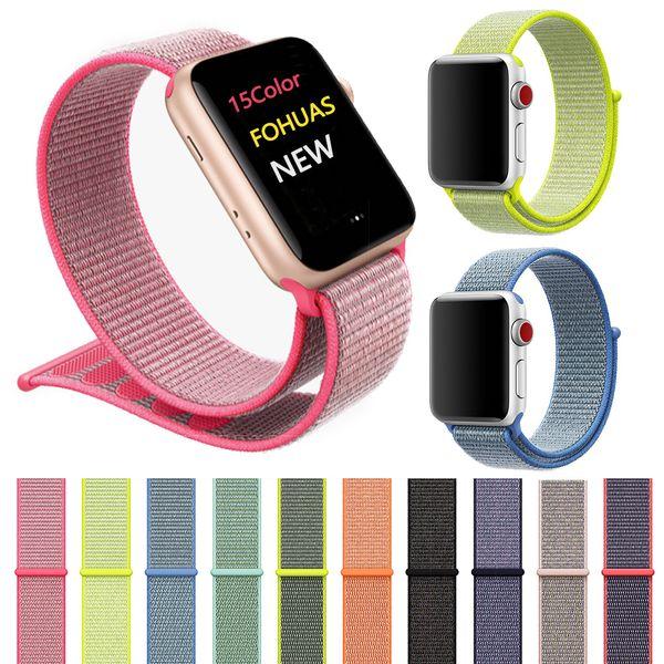 Pour Apple Watch iWatch Band 42mm Nylon 38mm Doux Respirant Sport Poignet Fermeture Dragonne Réglable pour Apple Watch 3 2 1