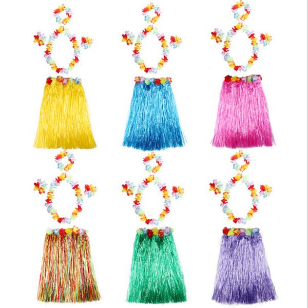 Hula Grass Skirt 5PCS Hawaiian Grass Dance Skirt Game Disfraces de rendimiento Fans Cheer Accesorios Niños Dress Up Festivo Party Supplies