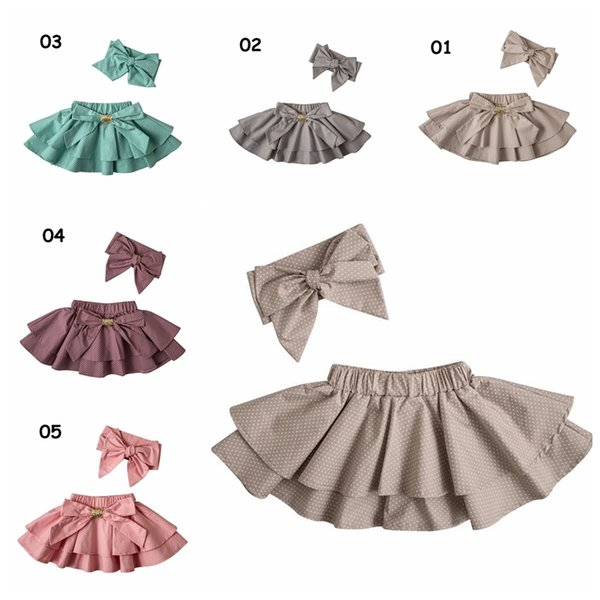 Toddler polka dot skirts Baby ruffle tutu skirt pettiskirts + bowknot headbands kids boutique clothing sets 5colors