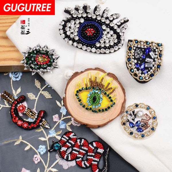 GUGUTREE beaded eyes snake patches,crystals diamonds Insects Sequined Applique Patch for Coat,T-Shirt,hat,bags,Sweater,backpack BDP-15
