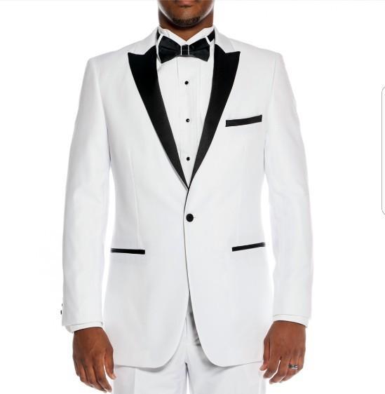 Cool White Groomsmen Peak Lapel One Button (Jacket+Pants+Tie) Groom Tuxedos Groomsmen Best Man Suit Mens Wedding Suits Bridegroom