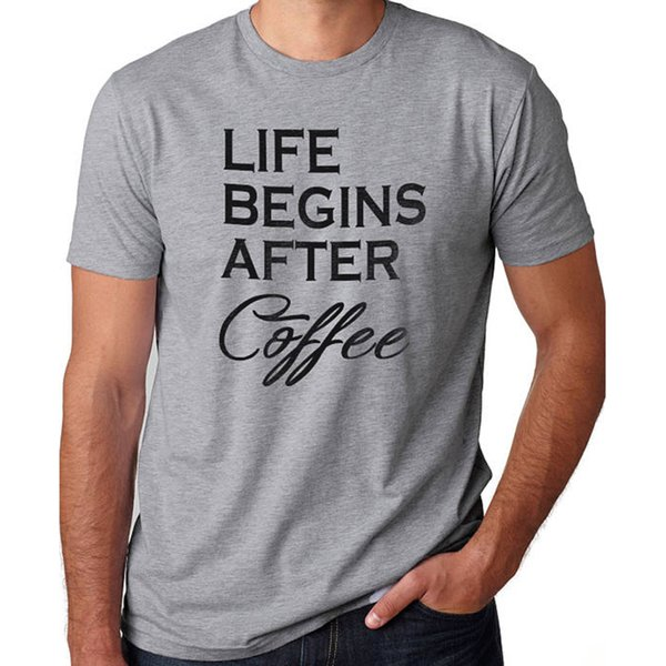 Wholesale Discount Holiday Gift Life Begins After Coffee Mens T Shirt Christmas Gifts Dad Shirt Husband Gift Father Tee Shirt Funny