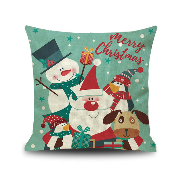 2018 New Christmas Linen Pillow Cover Christmas Snowman Cartoon Puppy Dog Animal Holiday Pillowcase Best Xams Gift For Kids Free Shipping