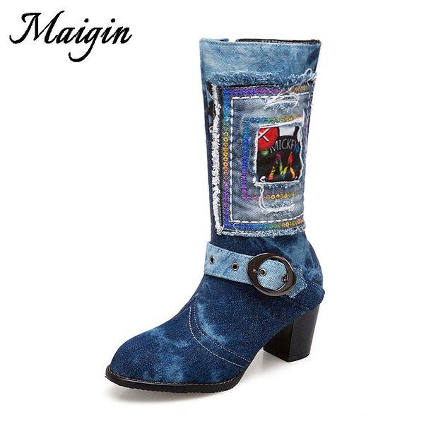 Maigin 2018 New Autumn Denim Women Boots Round Toe Navy Blue Bootie Woman High Heels Footwear Plus Size 34-43 Female Shoes