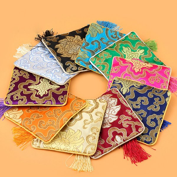 Chinese Silk Brocade Embroidered Jewelry Pouch Bag 11.5x11.5cm Coin Purses Xmas Gift Bag Zipper Pocket Mix Colors Wholesale