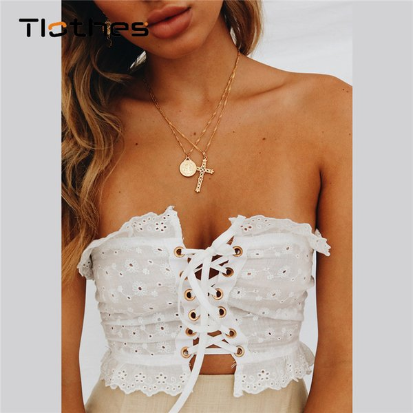 Fashion Sexy Adjustable Tube Tops Strapless Lace Top Women Summer Lace Up Bralette Crop Top Camisole Tank Female Casual