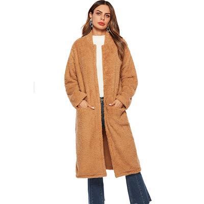Marka Kadınlar Kış Uzun Peluş Palto 2018 Yeni Sıcak Dikey Cep Çift-yüzlü Kadife Ceket Yüksek Kalite Gevşek Giyim