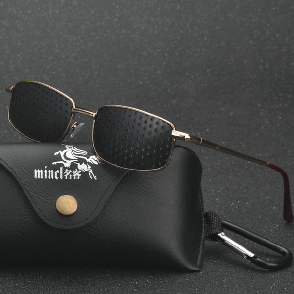 MINCL/ High quality Black Unisex Vision Care Pin hole Eyeglasses Pinhole Glasses Eye Exercise Eyesight Improve Plastic LXL