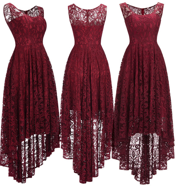 2018 New Cheap Lace Burgundy Designer Cocktail Christmas Party Dresses High Low Scoop Neck A Line Formal Occasion Wear CPS1150
