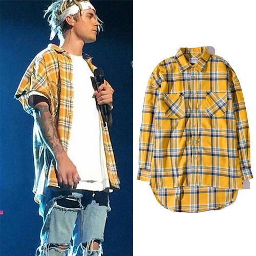 Vintage Plaid Flannel Shirt Men Justin Bieber Hip Hop Shirt Long Sleeve Button Down Long Casual Shirts Fashion Cardigan Tops BFSH0810