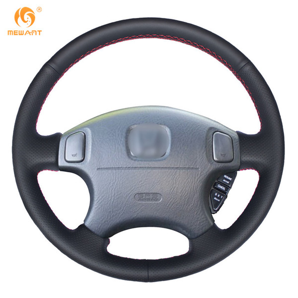 MEWANT Black Genuine Leather Steering Wheel Cover for Honda CRV CR-V Prelude 1997-2001 Accord 6 1998-2002 Odyssey 1998-2001 Civic 1996-2000