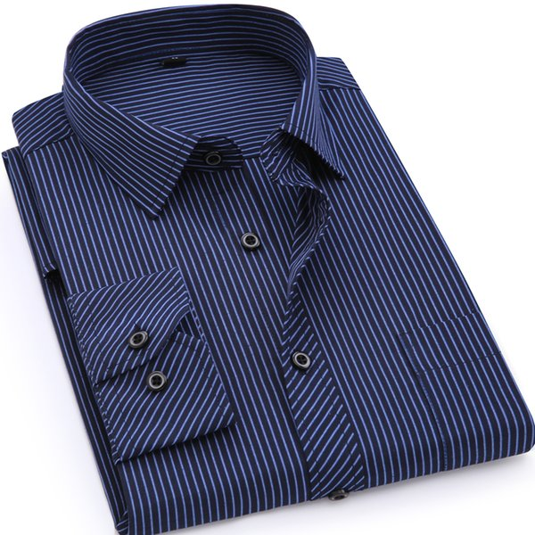 Plus Large Size 8XL 7XL 6XL 5XL 4XL Mens Business Casual Long Sleeved Shirt Classic Striped Male Social Dress ShirtsY1882203