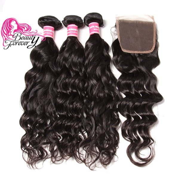 Brazilian Natural Wave Virgin Hair Weaves 3 Bundles with Lace Closure Free Part 8A Unprocessed Remy Human Hair with Closure Wholesale Weft