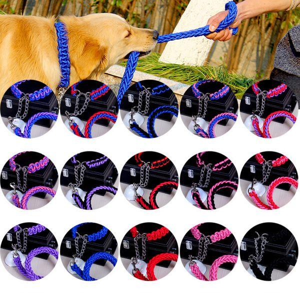 15 Farben Haustier Hund Kette String Kragen Traktion Hundehalsband Big Puppy einstellbar klein mittel groß XL FFA529 20PCS