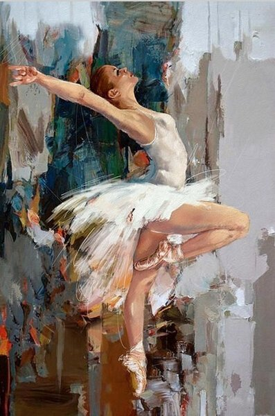 High Quality Handmade Original Dancing Ballerina Oil Painting 100% Hand Painted Abstract Ballet Girl Wall Painting
