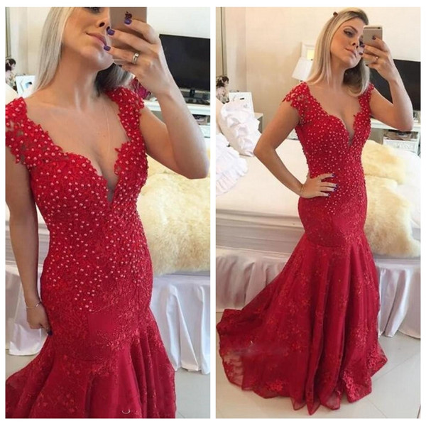2018 Sheer V-Neck Cap Slim Mermaid Lace Prom Dresses Beaded Pearls Custom Formal Lace Reception Evening Gowns Ladies Special Occasion Gowns