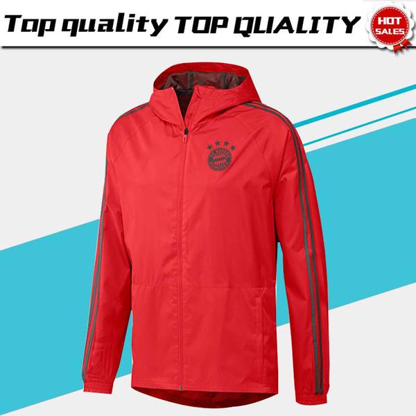 Bayern Munique casaco de vento vermelho jaqueta tem chapéu 18 19 Bayern Munique uniforme de treinamento casaco de chuva uniforme de futebol jaqueta