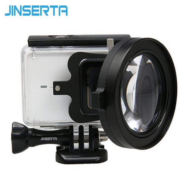 JINSERTA 58mm Magnifier 16x Magnification Macro Close Up Lens + red UV Filter for xiaomi yi 4K 2 II camera Accessories