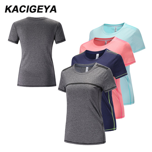 Summer Gym Tshirt Women Loose Yoga Tops Sports Shirts Fitness Women Dry Fit Running Workout Exercises Jogging Shirts