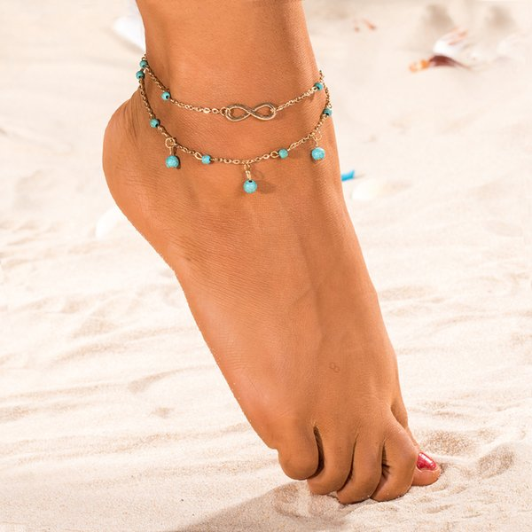 Cheap Barefoot Sandals For Wedding Beach Anklet Chain Hottest Stretch Gold Toe Ring Beading Wedding Bridal Bridesmaid Jewelry Foot