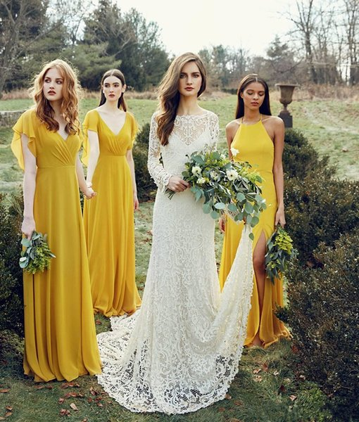2018 Summer Chiffon Yellow Long A-Line Bridesmaid Dresses Ruched Split Backless Garden Wedding Guest Party Dresses Custom Made