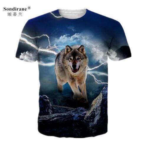 Sondirane New Summer Women/Men Animal Wolf 3D Print T Shirts Casual Short Sleeve T-Shirt Hip Hop Tops Comfortable Tees