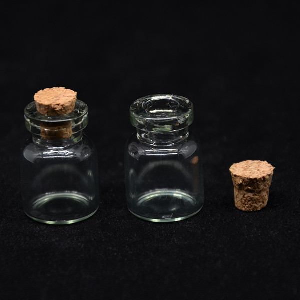 1ml 1CC Glass Bottle With Wood Cork Mini Wishing Perfume Bottles Vial Sample Bottles Cosmetic Container Packaging